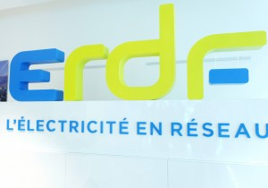 A picture taken on June 30, 2015 shows the new logo of ERDF, the French electric power distribution at the headquarters in La Defense district near Paris. AFP PHOTO /  ERIC PIERMONT